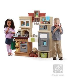 The Heart of the Home Kitchen™ by Step2 is the perfect balance between traditional and modern design play kitchen elements! This large play kitchen set for kids includes many accessories and lifelike appliances that toddlers and preschoolers will love.
