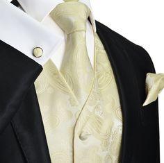 Champagne Paisley Vest Set by Paul Malone