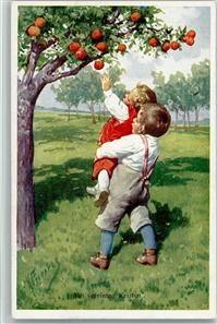 Serie 195-5 Kinder pflücken Äpfel , gute Erhaltung AK