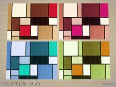 Modern rug with geometric pattern in four colors, enjoy your rooms! Found in TSR Category 'Sims 4 Rug Recolors'