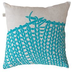Knitting Cushion Cover - Turquoise on Natural - hardtofind.