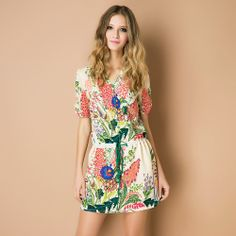 Gentlewomen ink print drawstring slim waist o-neck loose short-sleeve summer one-piece dress free shipping US $44.38