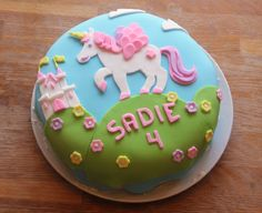 Natalie wants a unicorn cake for her birthday this year. Cute! I have never worked with fondant though. Hmmmm...