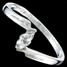 Silver ring, CZ, elegant Silver ring, Ag 925/1000 - sterling silver. With stones (CZ - cubic zirconia). A fine ring with two little round zircons.