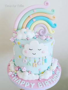 Rainbow cake by Time for Tiffin Second Birthday Cakes, 1st Birthday Cake For Girls, Baby Birthday Cakes, Rainbow Birthday Party, 10th Birthday, Rainbow Smash Cakes, Fondant Rainbow, Unicorn Rainbow Cake, Cloud Cake