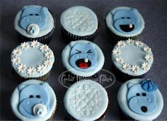 Hippo Baby Shower Cupcakes A selection of vanilla chocolate and red velvet cake cupcakes with fondant accents.