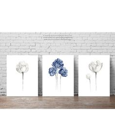 Peony Watercolor Painting set 3 Peonies White Taupe Navy Blue  #peony #painting #white #taupe #picture #navy #blue #image #floral #plant #poster #wall #decor #home #garden #illustration #art #drawing