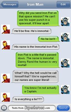 What's in a name? Texts From Superheroes