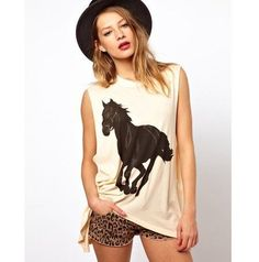 Summer Style t shirts for women 2015 New ladies Fashion T shirt black horse printed Tee shirt plus size Crazy Discount !