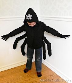 DIY spider costume - the google eyes on the hat