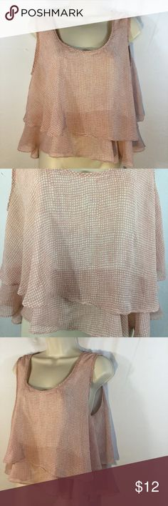 """RUFFLED, CROPPED SLEEVELESS PULLOVER TOP SZ M Poetry brand ruffled, cropped, sleeveless top. Pink and white checkered. Gently used condition.  Size M Bust 20"""" Length 20 1/2""""  Please comment with any questions and feel free to make an offer with the blue button! ⭐️ Purchase by noon EST and item(s) ship the same day!  Bundle items and save! Free shipping on all items over $20, just offer $6.00 less and I will accept. Happy Poshing 😊 Poetry Tops Crop Tops"""