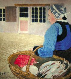 Paysanne bretonne au panier de poissons, Peinture de Carl Moser