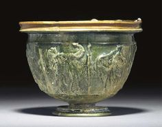 A ROMAN LEAD GLAZED POTTERY GOBLET -  LATE 1ST CENTURY B.C./EARLY 1ST CENTURY A.D.
