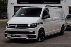 """TRANSPORTER T6 LWB 2.0 TDI 140PS 6 SPEED HIGHLINE WITH CORNE MOTORS FULL SPORT X DESIGN PACK INC 18"""" SPORTLINE ALLOYS, 50MM LOWERING SPRINGS, SPORTLINE FRONT BUMPER, SPORTLINE REAR SPOILER, TWIN LED DRL'S, SIDE BARS, ROOF RAILS, 1 OWNER FROM NEW, FLEXIBLE FINANCE PACKAGES AVAILABLE & PX WELCOMED, Upgrades - Genuine OE Sportline Front Bumper Spoiler, Twin LED DRL Daytime Running Lamps, Genuine OE 18"""" Dual Finish Sportline Alloy Wheels, Genuine OE Sportline Rear Barn Spoiler, ... Vw Transporter Van, Vw T5, Vw Vans, Roof Rails, Modified Cars, Alloy Wheel, Campers, Audi, Tools"""