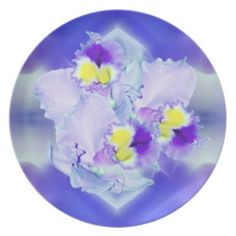 Blue Orchid flowers dinner party plates