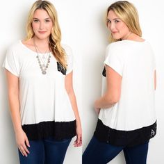 🎉SALE🎉Plus Size White Short Sleeve Lace Trim Top New with tags. Plus size short sleeve tee with black lace trim on the hem and small black lace trim pocket on the bust. Available in size 1X, 2X, and 3X.                                                                     🌸96% rayon, 4% spandex.                                          🌸Made in USA.                                                        🌺PRICE IS FIRM UNLESS BUNDLED.                      ❌SORRY, NO TRADES. Boutique Tops…