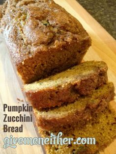 Whole-Wheat-Pumpkin-Zucchini-Bread- so yummy for Fall!!! Anyone know where I can find some zucchini?! Got a couple things I want to make with it... LOL