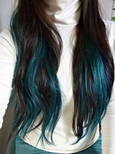 black hair turquoise highlights - Google Search