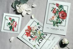 Ad: Modern Vintage Floral Wedding Suite by KlapauciusCo on Here's a mix set of modern & vintage floral style invitation, best for your elegant wedding ceremony! What you have in the package is: Invitation Floral, Wedding Invitation Suite, Floral Wedding Invitations, Invitation Design, Invitation Templates, Invites, Printable Invitations, Wedding Stationery, Invitation Cards