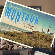 Vintage Travel Postcard Save the Date Montauk NY  by beyonddesign, $30.00