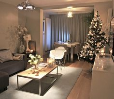 white and gray Christmas Living Room