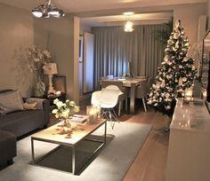 white and gray Christmas Living Room