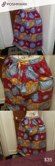 Fuchsia And Baby Blue African Print Skirt
