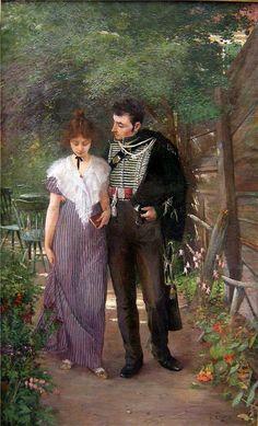 Ludwig Stutz (1865 - 1917)          Flirtation in the garden