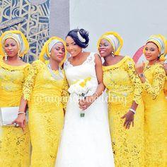 Nigerian wedding yellow and gray aso-ebi style