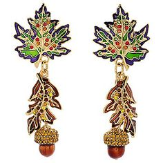 "Ritzy Couture by Esme Hecht ""Autumn in New York"" Leaf & Acorn 2.75"" Earrings"