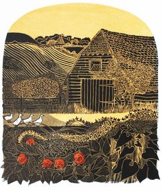 """Four Ducks & Barn"" linocut, 1972, by Robert Tavener, 40cm x 50cm (illustrator and printmaker, born 1920-died 2004, London, England)"