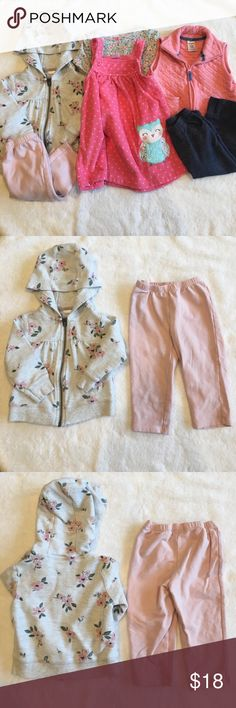 Carter's Six Piece Bundle Carter's six piece bundle includes: one long sleeve floral shirt, tank fleece dress with owl, denim look leggings, pink pants, pink zip down vest and floral hooded sweatshirt. all Carter's size 12 months. No trades, offers welcome. Carter's Matching Sets