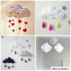 Craft This Cloud Mobile for Your Baby Nursery (has very basic instructions for making these mobiles) Cloud Mobile, Mobile Baby, Baby Mobiles, Mobiles Diy, Felt Crafts, Diy And Crafts, Diy For Kids, Crafts For Kids, Craft Projects