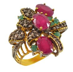ES206 -Ασημένιο επίχρυσο δαχτυλίδι Vintage Brooch, Vintage, Antiques, Collection, Jewelry, Fashion, Antiquities, Moda, Antique