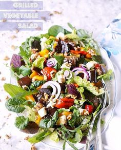 Grilled Vegetable Salad with Sweet Balsamic Dressing. Serve it warm or cold, as a side or entrée with grilled chicken. It's a firm family favorite and party crowd pleaser! Grilled Vegetable Salads, Grilled Vegetables, Veggies, Best Bbq Recipes, Delicious Recipes, Bbq Cookbook, Dried Pineapple, Pineapple Flowers, Chicken Eggplant