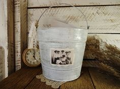Cottage Shabby Chick Galvanized Bucket Pail Adorned with 1916 Photo and Old Lace