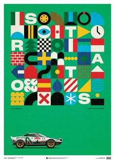Lancia Stratos HF – Green – Alitalia – 1974 – Limited Poster - New Site Family Poster, Elements And Principles, Geometric Graphic, Behance, Paper Ship, Car Drawings, Illustration Sketches, Illustrations, Rally Car