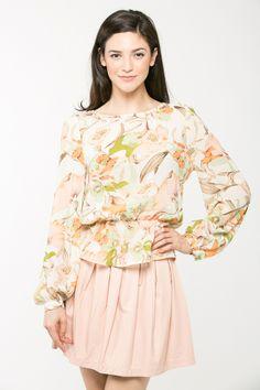 Peachy Floral Peplum Blouse @ Cicihot Top Shirt Clothing Online Store: Dress Shirt,Sexy Womens Shirt,T Shirts,Corset Dress,White T Shirt,Girl T Shirt,Short sleeve top,Sexy Shirts
