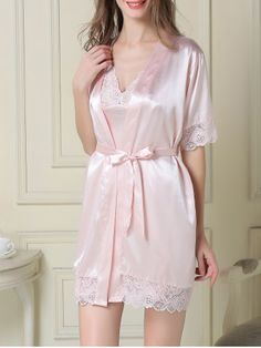 128a889481b Satin Slip Dress and Robe - LIGHT PINK L Hipster Outfits