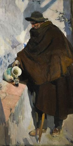 The Athenaeum - Elderly Castellano Pouring Wine (Joaquin Sorolla y Bastida - ) Spanish Painters, Spanish Artists, Painting People, Figure Painting, Valencia, Figurative Kunst, Virtual Art, European Paintings, Claude Monet