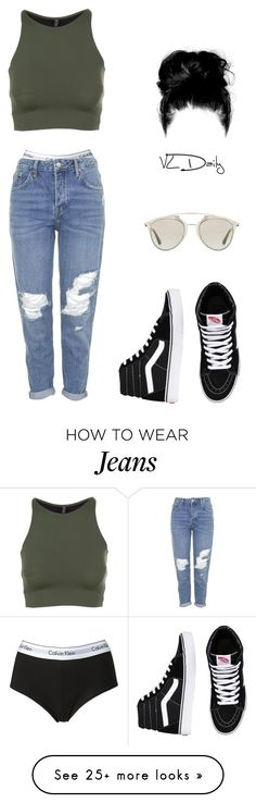 """roll dem jeans"" by ajamarks on Polyvore featuring Calvin Klein, Christian Dior, Onzie, Vans, Topshop, women's clothing, women, female, woman and misses"