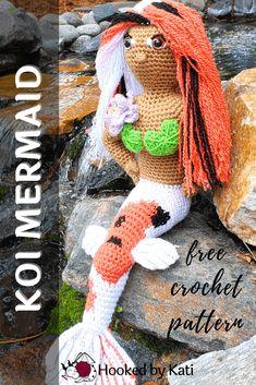 Grace the Koi Mermaid   Free Crochet Pattern   Hooked by Kati Free Crochet, Crochet For Kids, Crochet Patterns Amigurumi, Crochet Toys, Tapestry Crochet, Burlap Wreath, Slip Stitch, Single Crochet, Koi