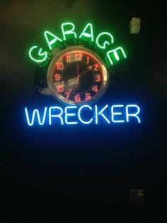 """VINTAGE, RESTORED  """"GARAGE WRECKER""""  BIG!  NEON CLOCK SIGN"""