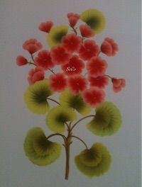 Painting | Decorative | Red Flower One Stroke Painting | CardsNCrafts