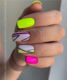 Pink Acrylic Nails, Pastel Nails, Neon Nail Art, Glam Nails, Hot Nails, Beauty Nails, Nail Manicure, Color For Nails, Nail Colors