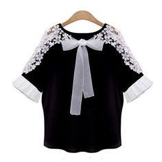 New Fashion Women Chiffon Lace Blouses Ladies Loose Casual Patchwork Summer Tops Blouse Black White Plus Size S~Xl 24