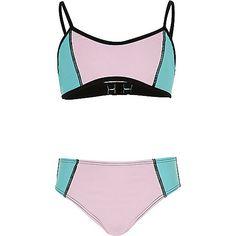 Girls pink colour block bikini