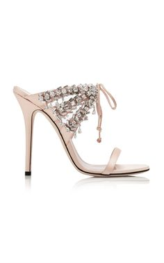Crystal-Embellished Satin Sandals by GIUSEPPE ZANOTTI Now Available on Moda Operandi