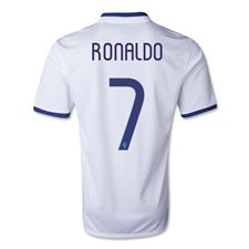 Nike Portugal 'RONALDO 7' Away 2014 Replica Soccer Jersey (Football White/Deep Royal Blue)