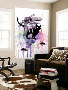 Super Cat Laminated Oversized Art by Lora Zombie at Art.com